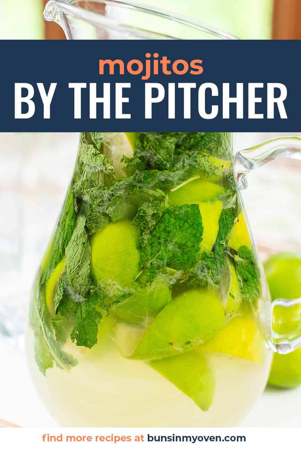 mojitos in a pitcher with text for PInterest.
