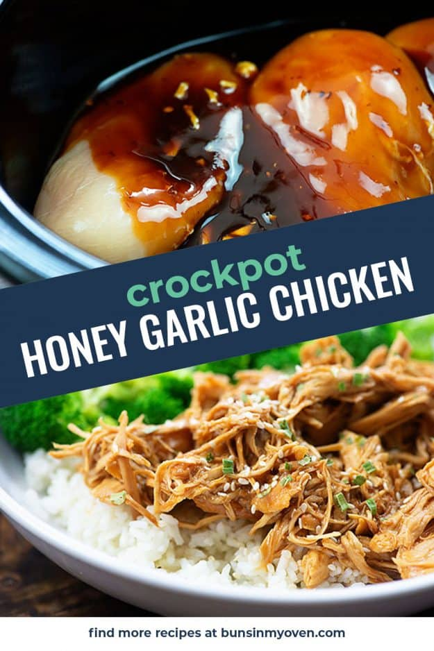 collage of slow cooker honey garlic chicken recipe photos.