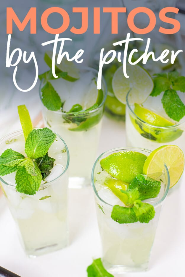glass of mojito with text for PInterest.