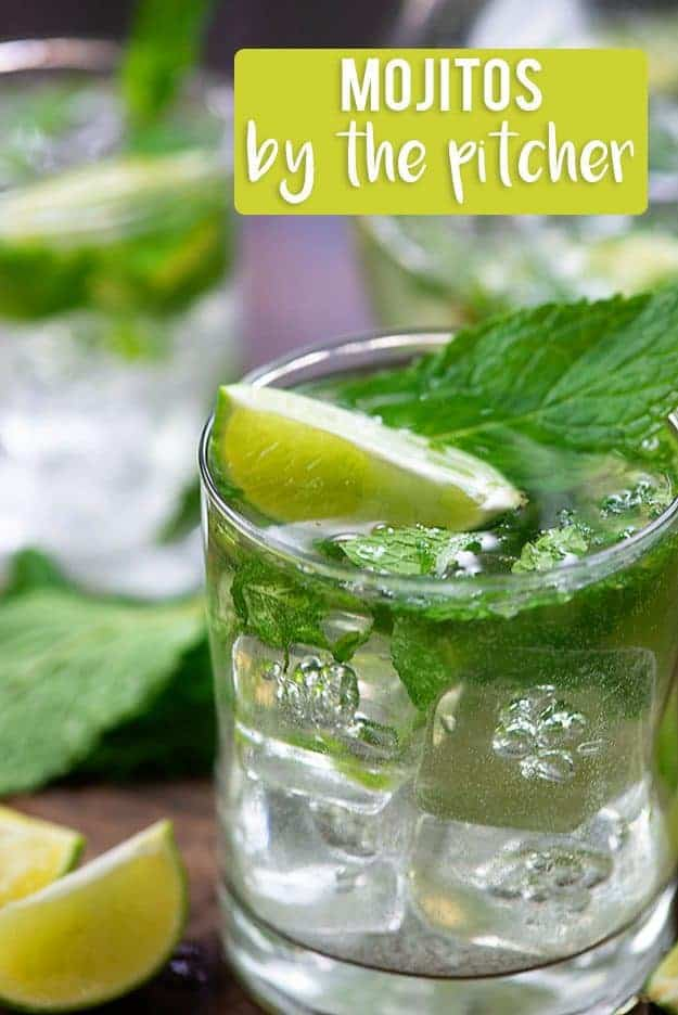 This mojito pitcher recipe makes a big batch of the best mojitos! So easy and refreshing! #cocktails #alcohol