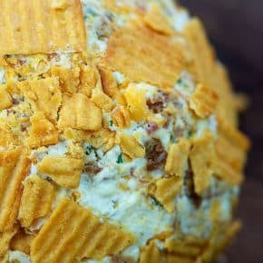 Bacon Ranch Cheese Ball - coated in crunchy crackers, loaded with cheese & bacon! #recipe #snack #appetizer