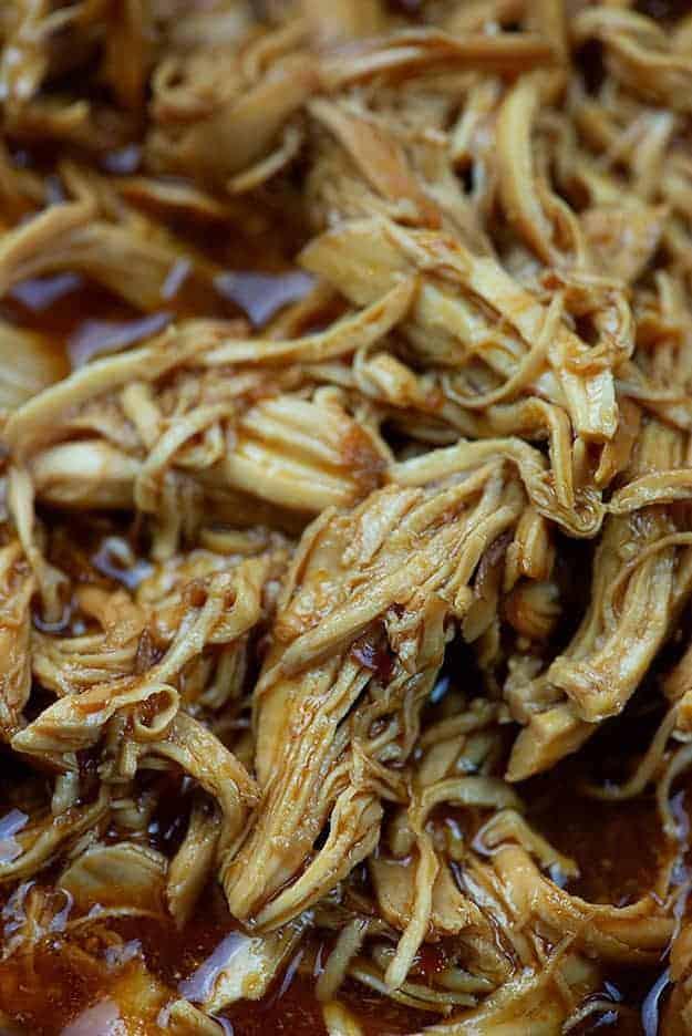 Shredded honey garlic chicken in the crockpot!
