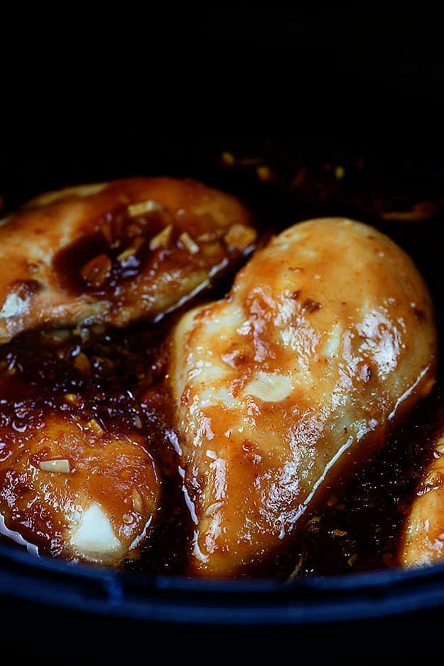 Chicken breasts covered in honey garlic.