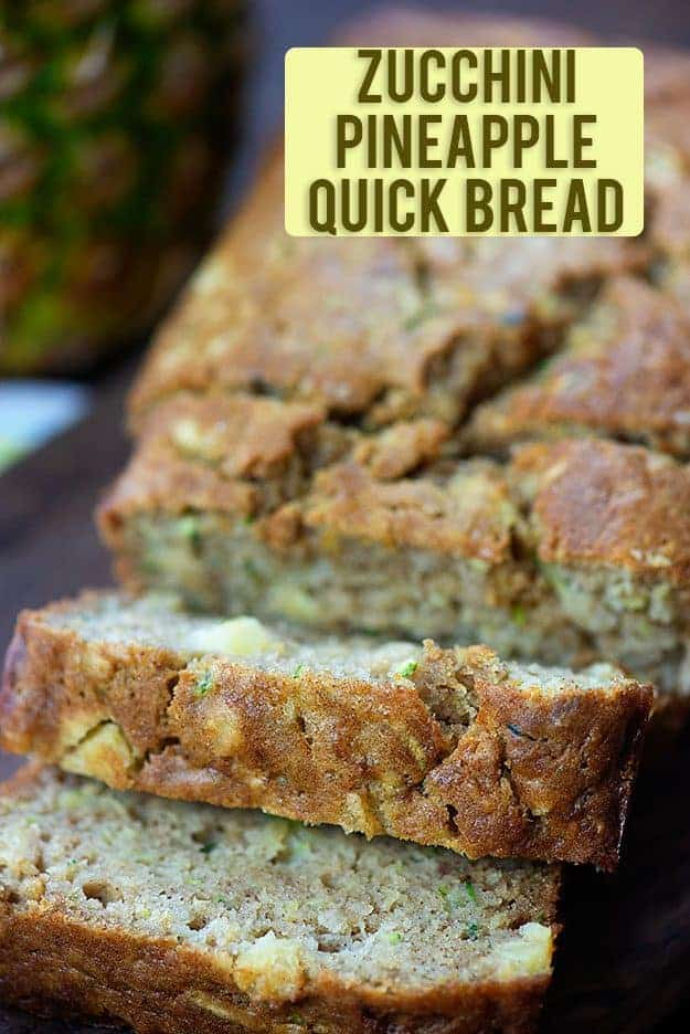 A sliced loaf of zucchini bread.