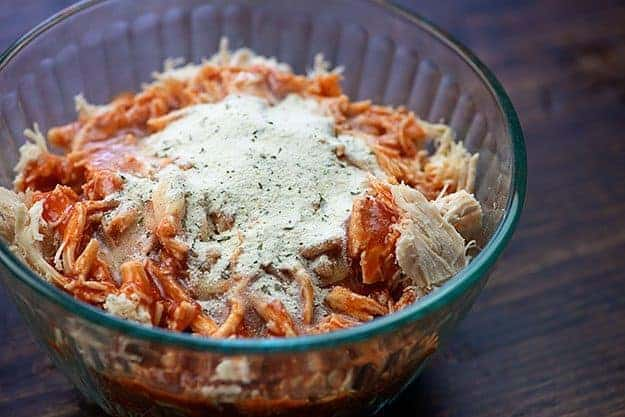 buffalo chicken in glass bowl