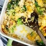 Low carb cheesy chicken casserole made with cauliflower rice and broccoli! #keto