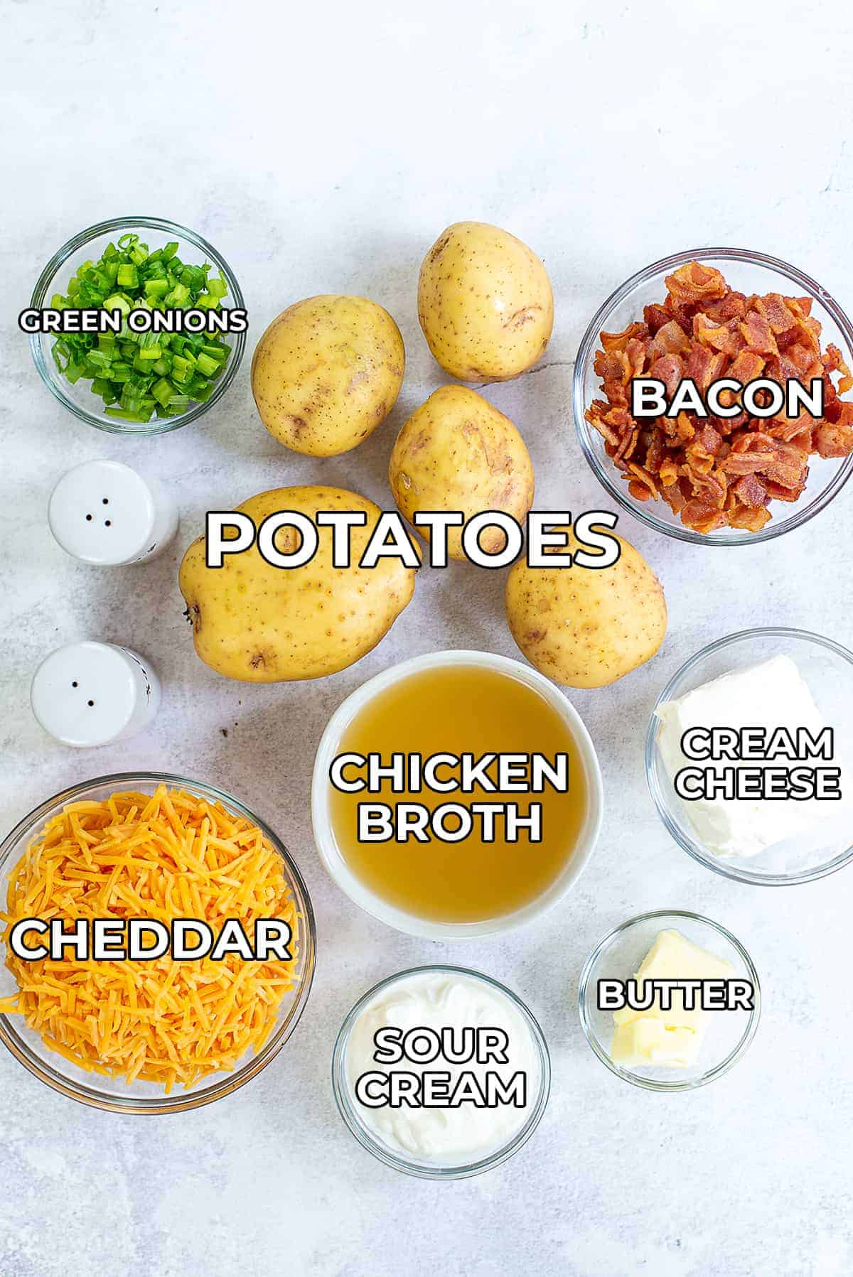 ingredients for crockpot mashed potatoes.