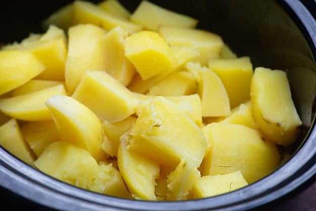 potatoes in black dish