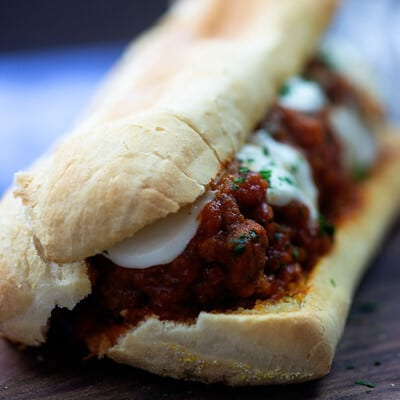 Crockpot Meatball Subs - these sandwiches are total comfort food and great for football too! #footballfood #recipe #crockpot #easy