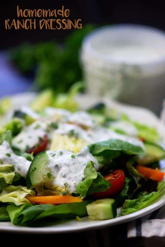 Homemade ranch dressing - low carb, keto friendly, and oh so flavorful.