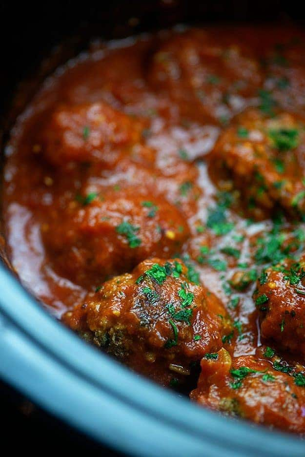 Meatballs in a slow cooker.