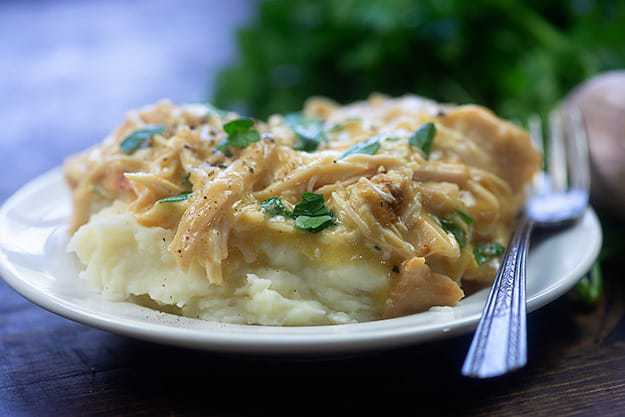 A close up of a plate shredded chicken on top of mashed potatoes.