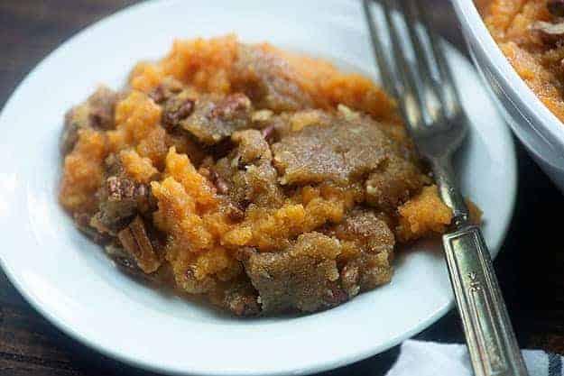 homemade sweet potato casserole on white plate