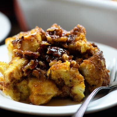 A close up of a plate of french toast casserole.