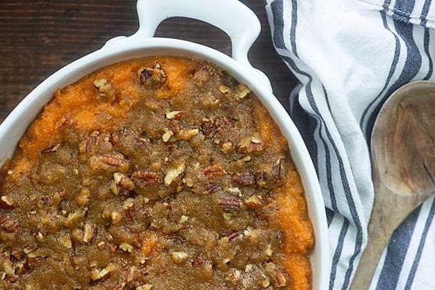 ruths chris sweet potato casserole in white baking dish