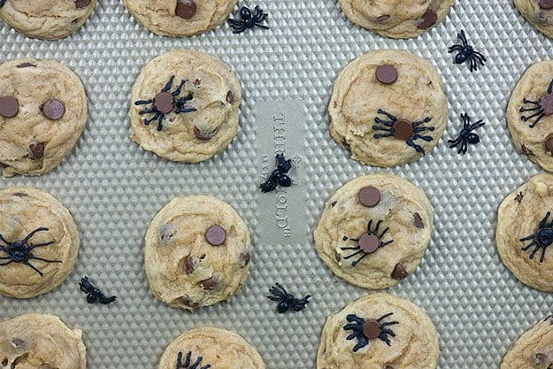 spider cookies on baking sheet
