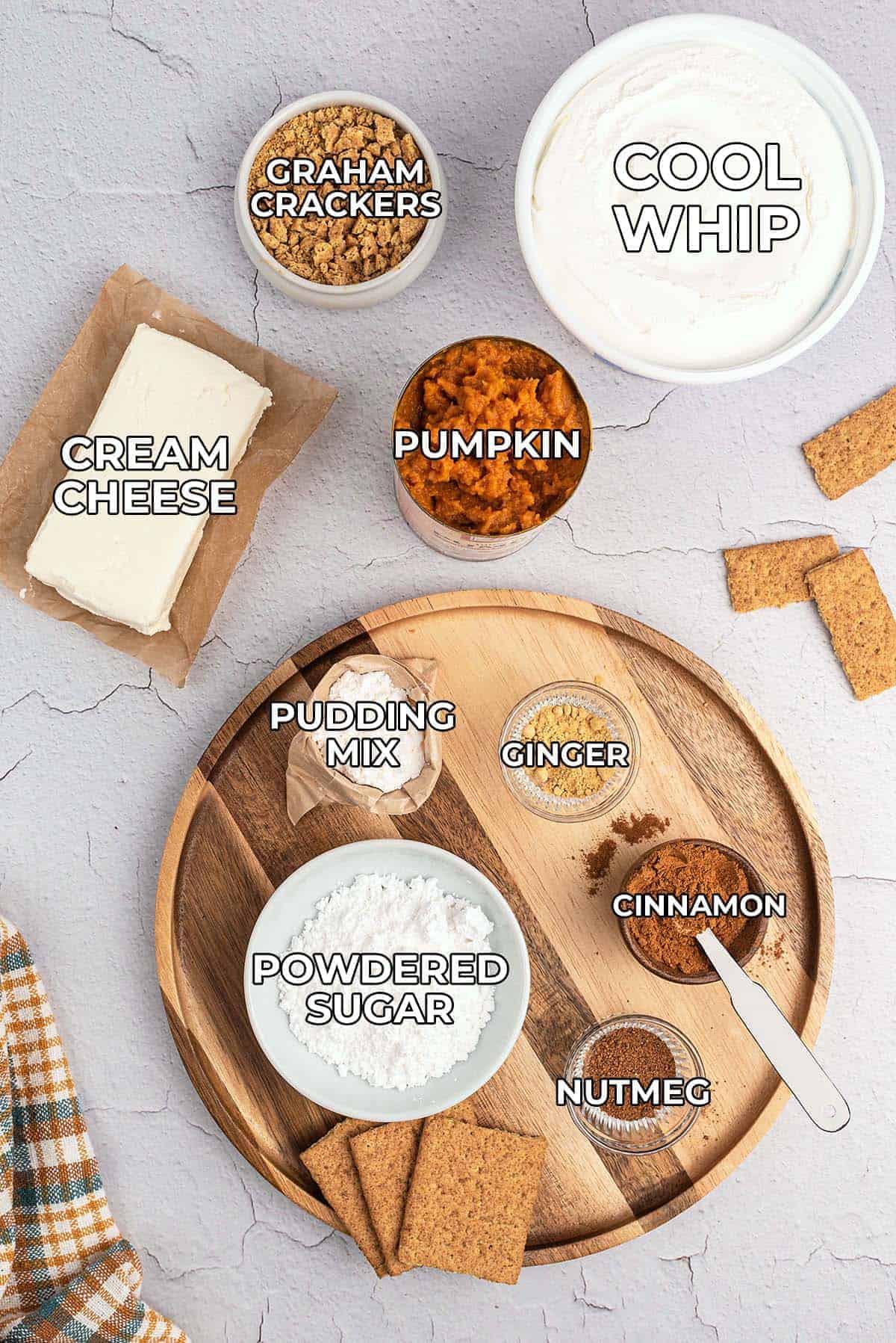 ingredients needed for pumpkin pie dip.