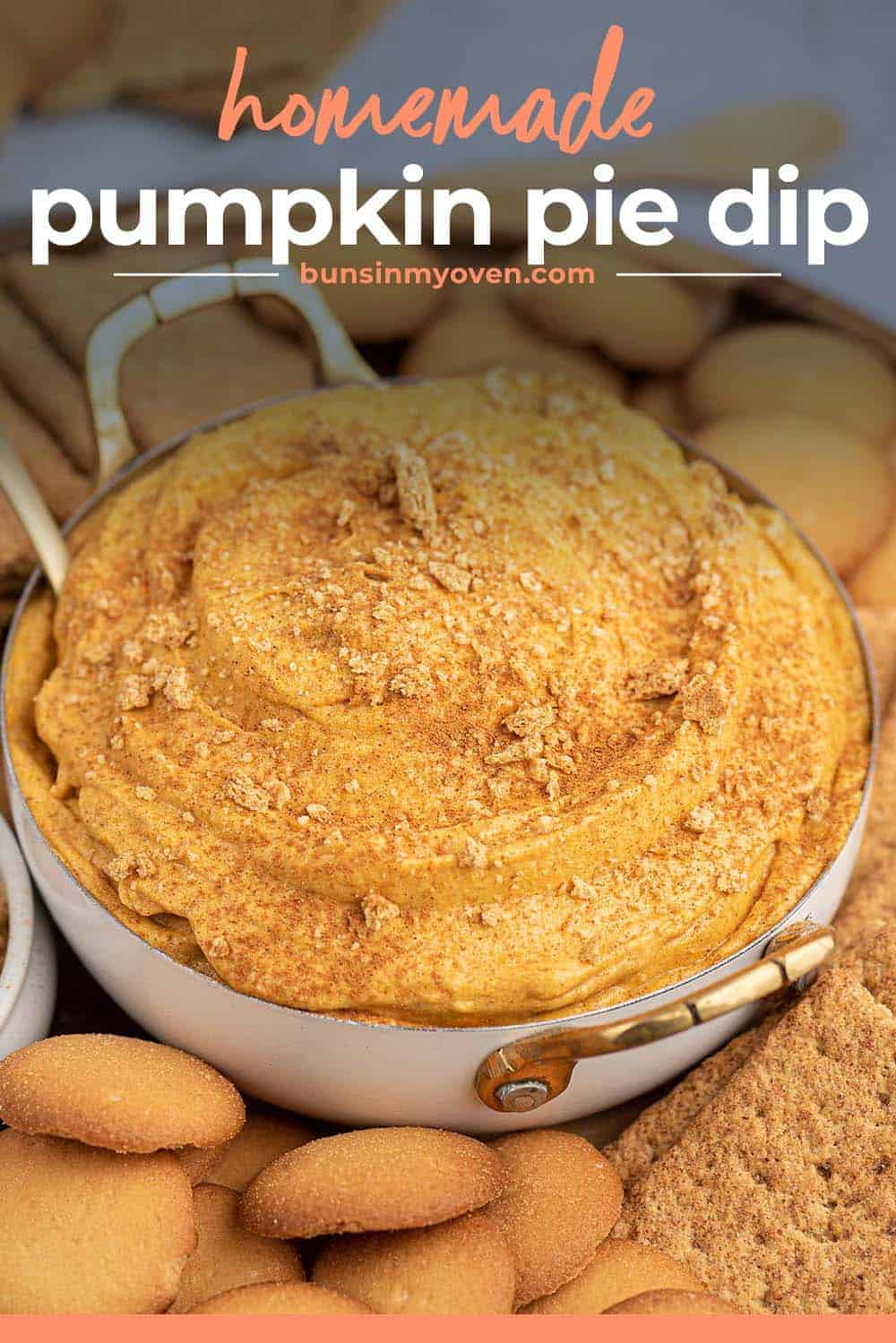 pumpkin pie dip in small dish with text for Pinterest.