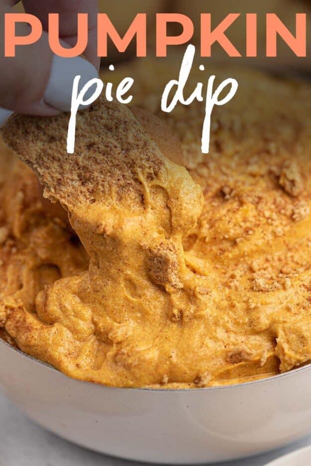 homemade pumpkin dip with text for Pinterest.