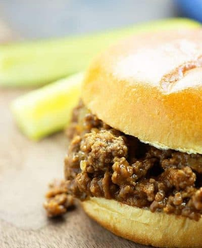 A close up of a sloppy joe sandwich