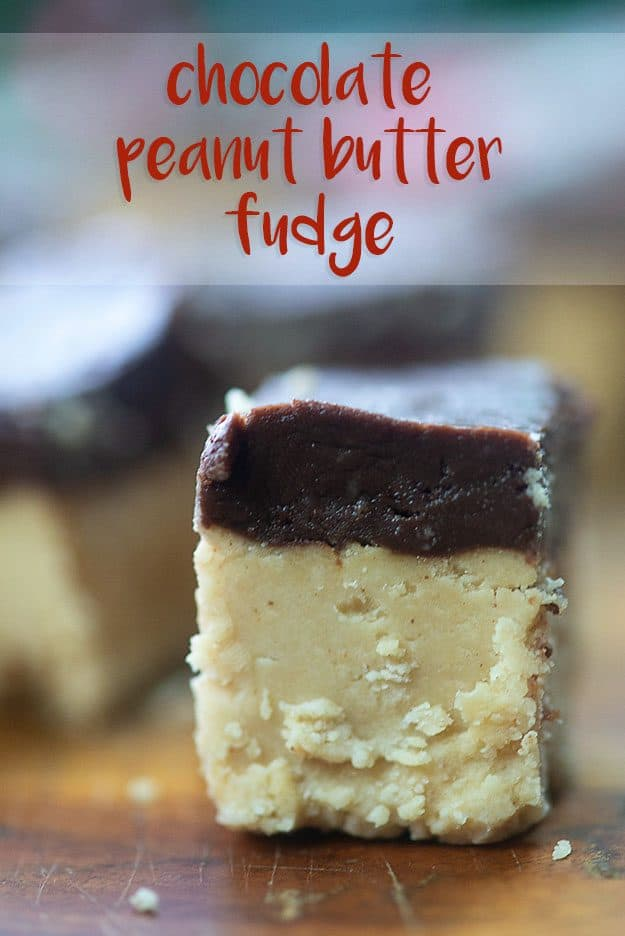 Close up of a side view of chocolate peanut butter fudge.