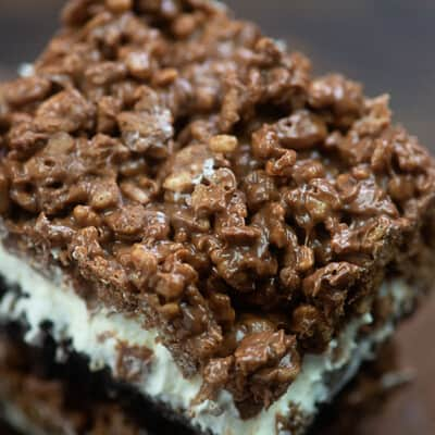 A close up of a marshmallow brownie.