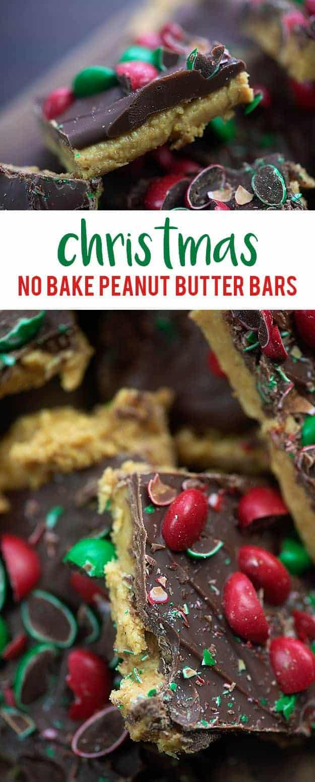 No bake peanut butter bars all dressed up for Christmas! Just a handful of ingredients and so darn easy! #nobake #peanutbutter #christmas #recipes