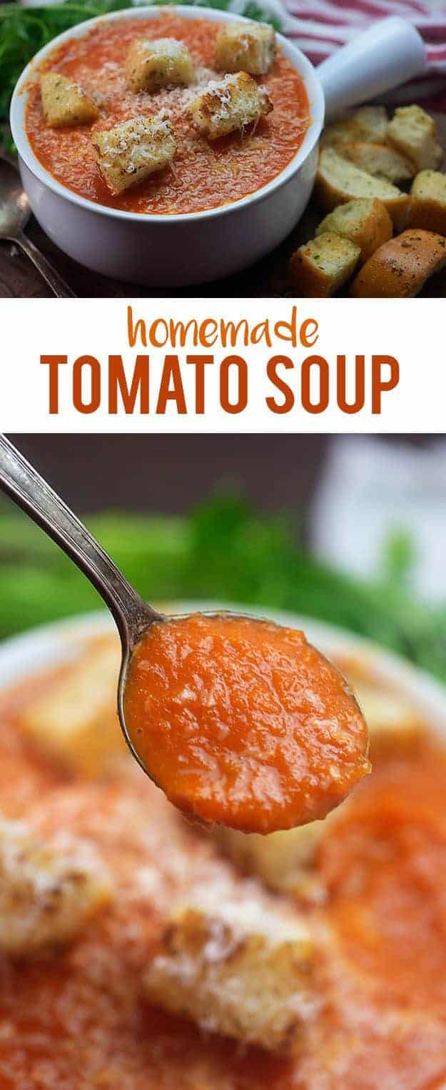 a spoonful of tomato soup above a white bowl
