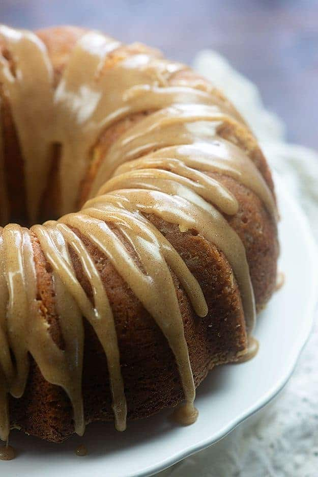 Buttermilk pound cake with browned butter glaze! You'll want to drink that glaze, it's so good!! #recipe #cake #poundcake