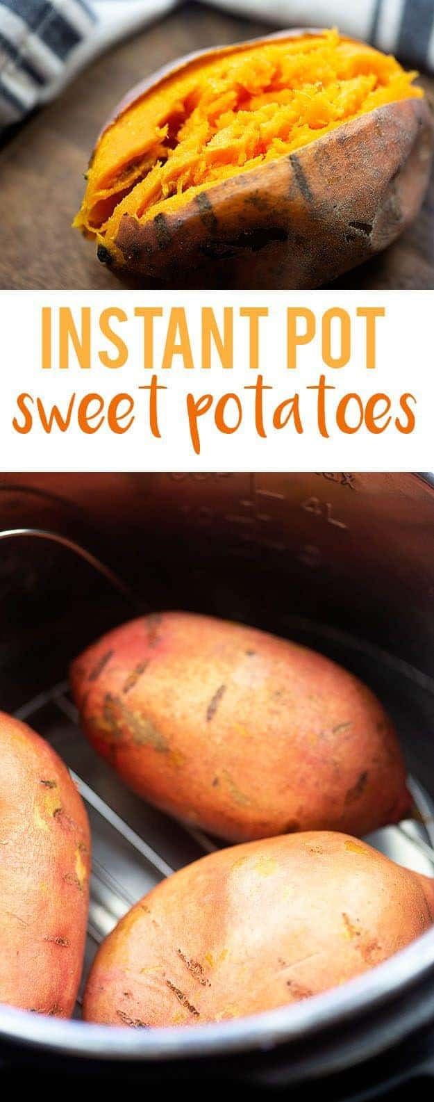 Baked sweet potatoes in the Instant Pot! They come out so fluffy and perfect! #instantpot #sweetpotatoes #recipe