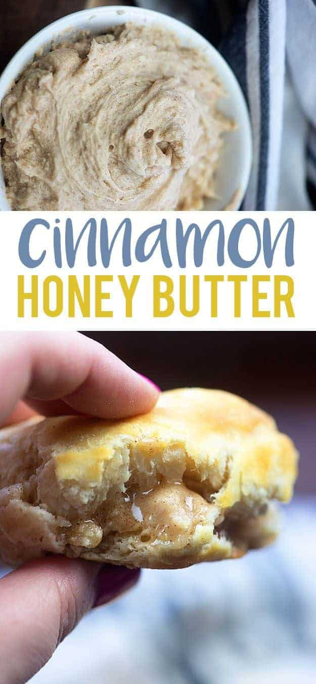 Cinnamon Honey Butter - just like from the steak house! Top your biscuits, waffles, pancakes, and rolls with this simple honey butter! #recipe #copycatrecipe