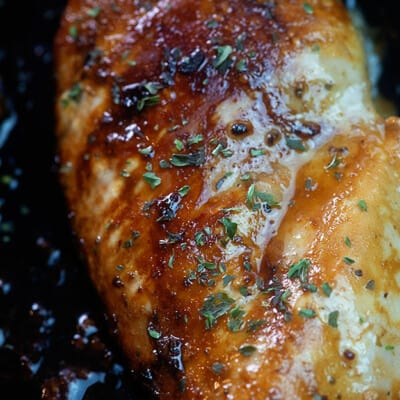A close up of balsamic chicken.