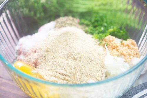 turkey meatball ingredients in glass bowl