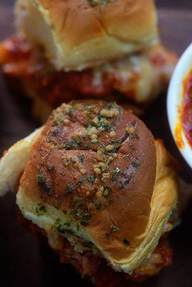 Top view of a meatball slider.