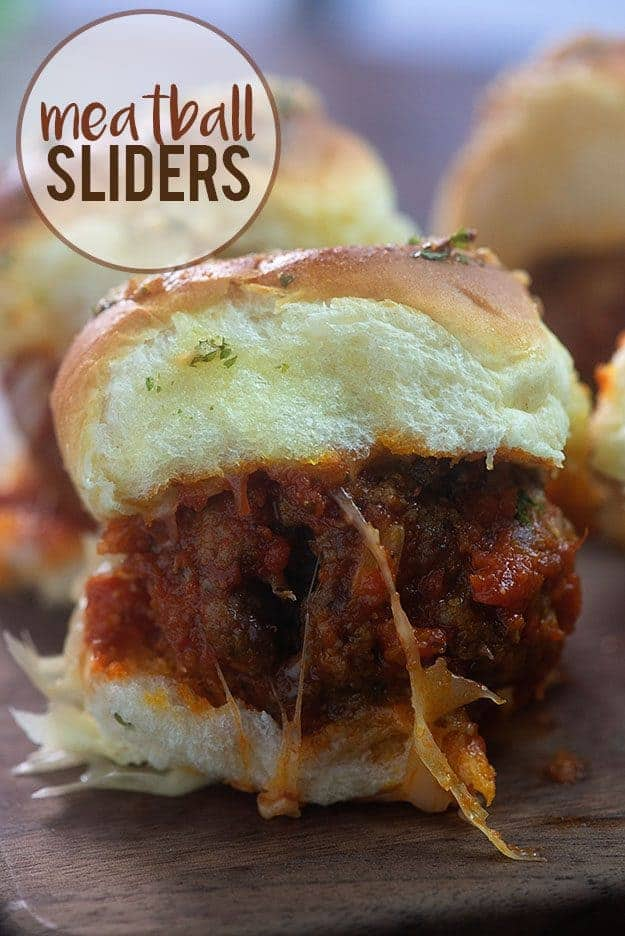 Meatball Sliders! The perfect game day food or quick dinner! #meatballs #sliders #recipe