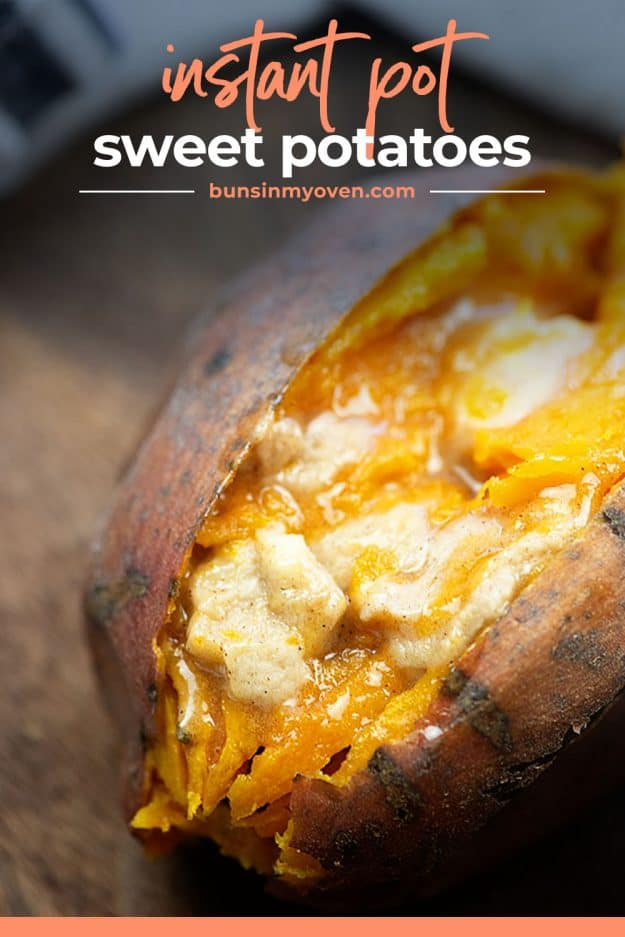 melted butter over a cooked sweet potato