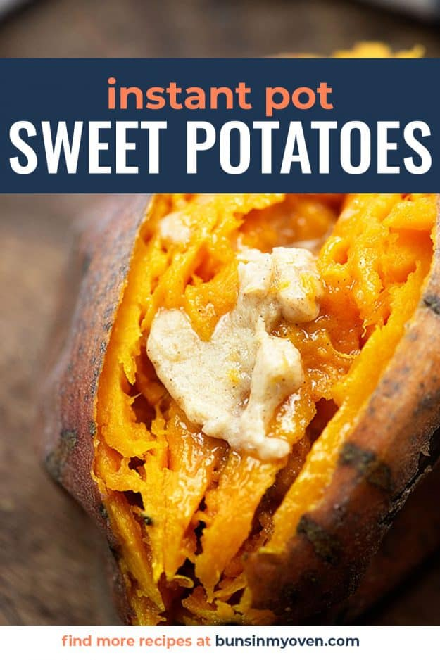 close up of sweet potato with honey butter on top.