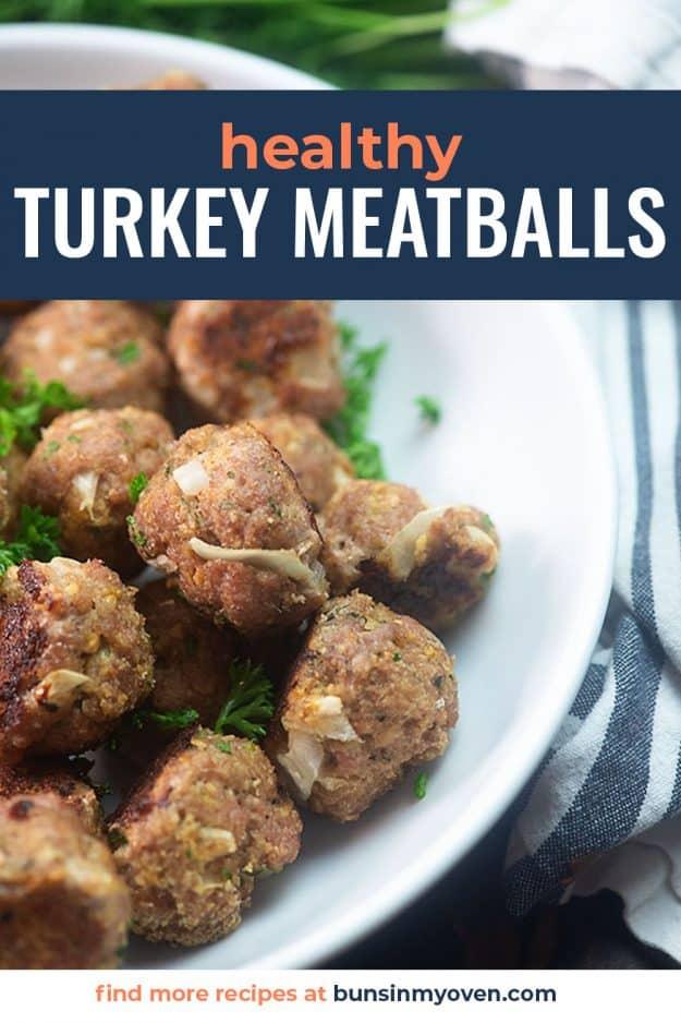 turkey meatballs in white bowl.