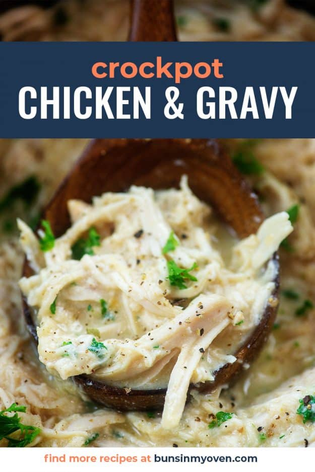 wooden spoon full of chicken and gravy