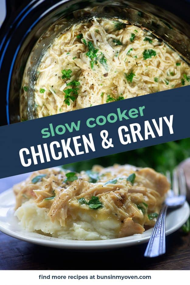 collage of chicken and gravy images.