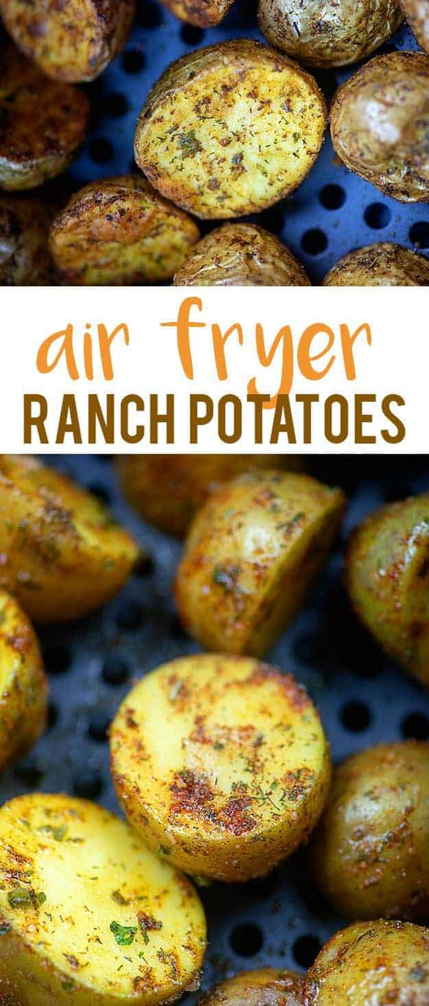 Cut potatoes and in an air fryer pan