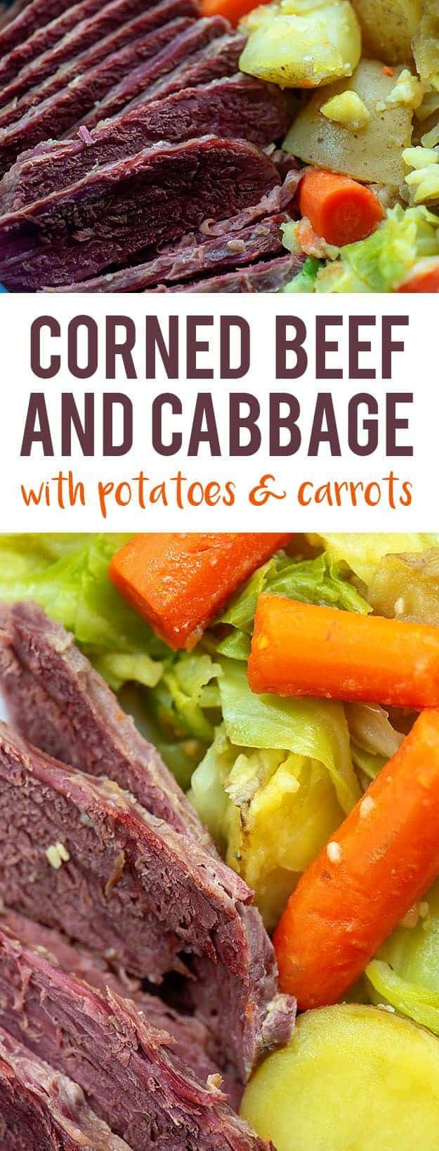 Corned Beef and Cabbage - cooked in beer with potatoes & carrots! #stpatricksday #irish #recipe