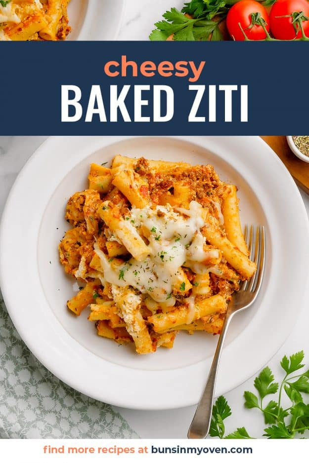 overhead view of baked ziti on white plate