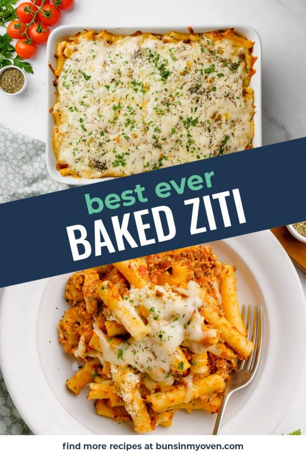 collage of baked ziti images.