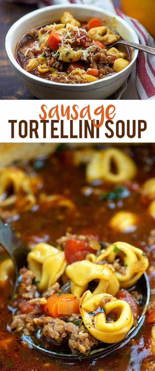 Sausage Tortellini Soup - hearty, filling, and full of goodness! #tortellini #soup #recipe