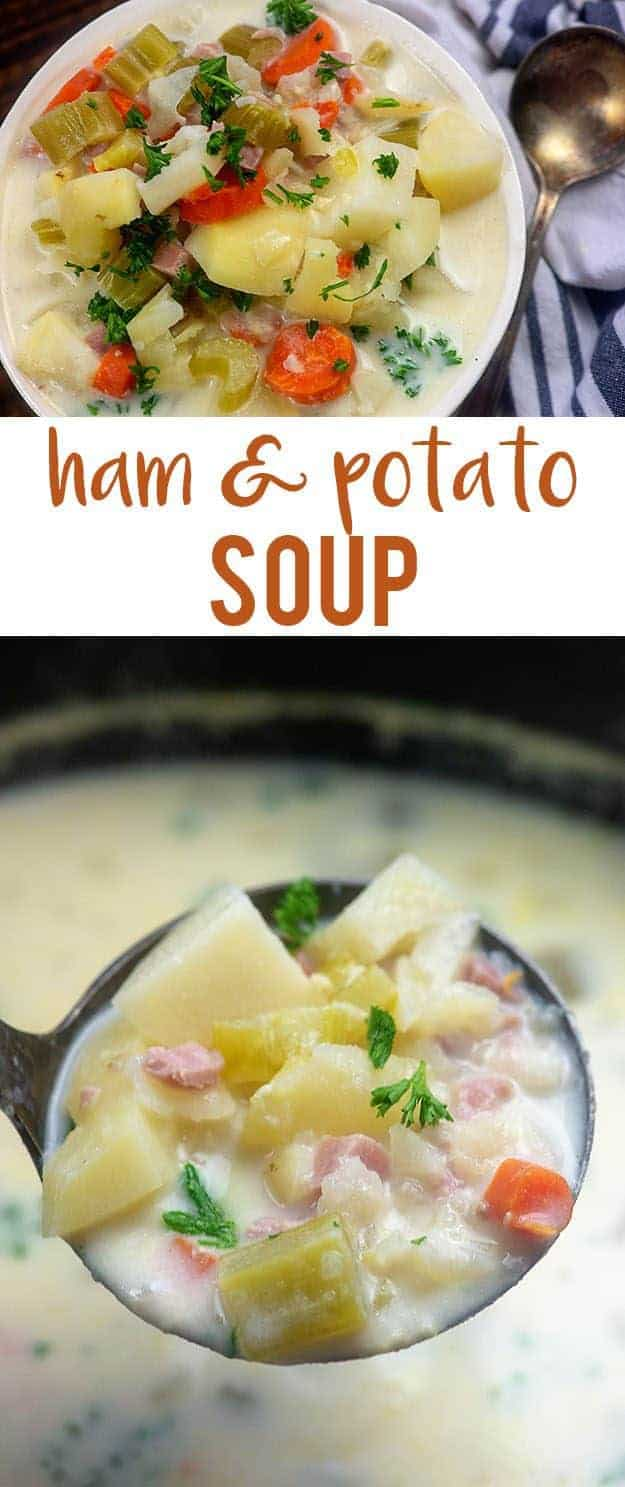 Crockpot Ham and Potato Soup - perfect for using up that leftover ham! #crockpot #soup