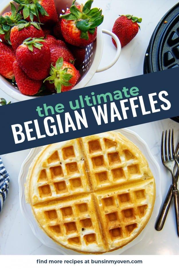 Belgian waffles on white plate.