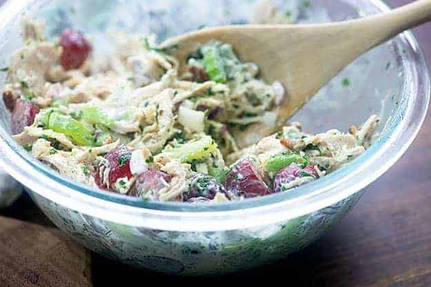 chicken salad with grapes in glass bowl