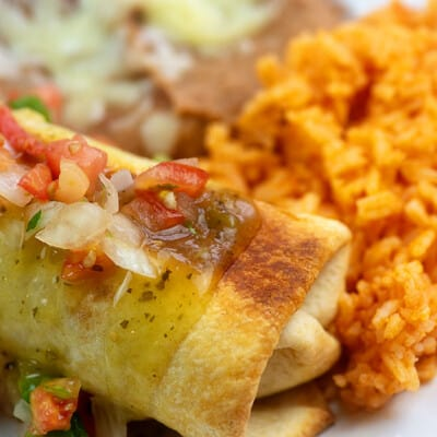 chimichangas on white plate