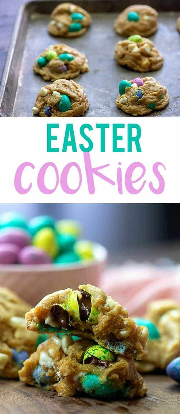 Close up of cookies with candy Easter eggs in them.